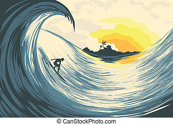 Tropical island wave and surfer  at sunset