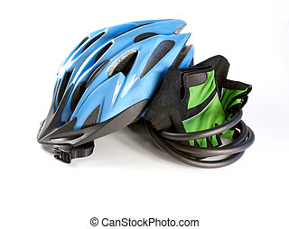 Cycling Helmet with Gloves - Blue biking helmet with riding...