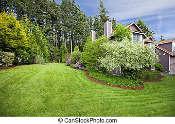 House in the spring with large garden and blossoms