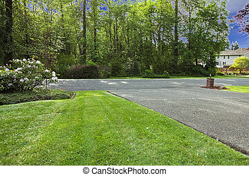 Front yard with grass and driveway and forest view