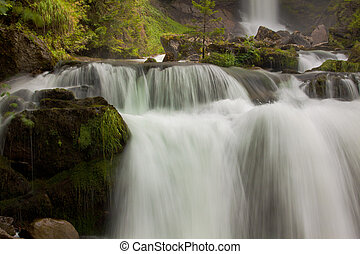 cascata, verde, natura