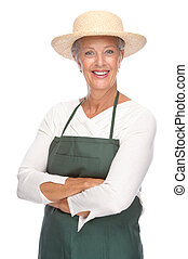 Senior gardener - Full isolated portrait of a senior...
