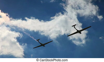 Two airplane on the sky