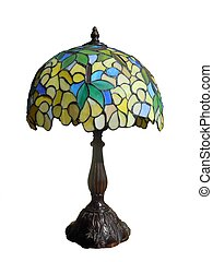 stained glass lamp - colorful stained glass lamp isolated on...