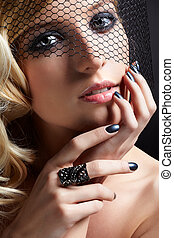 beautiful blonde in veil - glamour portrait of beautiful...