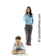 punished boy sitting in front of his mother