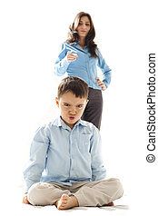 punished kid - boy punished by his mother