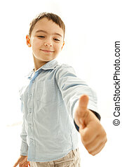 ok boy - Boy showing OK sign isolated on white background