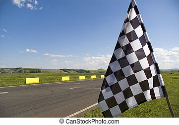 Checkered flag - Auto racing checkered flag on a background...