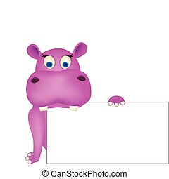 Cute hippo and blank space