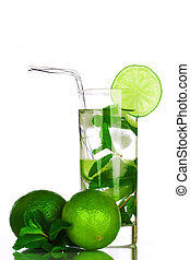 mojito on white -  mojito isolated on white close up