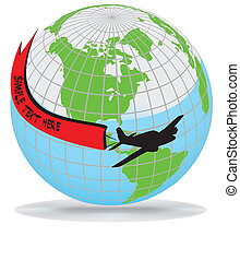 Airplane route around the worldpart of full set, vector...