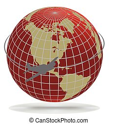Airplane route around the world(part of full set), vector...