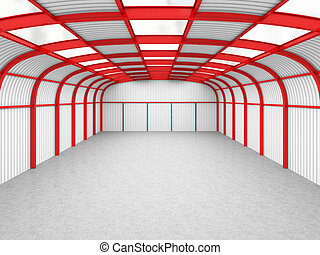 empty warehouse - fine 3d image of modern red and gray...
