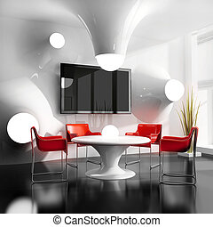 new modern cafe - dining table in modern cafe 3d image