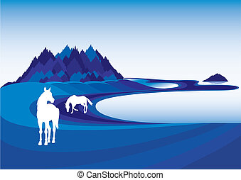 Horse silhouette. Vector illustration on blue landscape