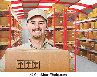delivery man portrait - smiling young delivery man in modern...