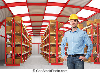 man in warehouse - smiling caucasian man in classic...