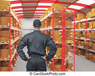 work in warehouse - standing manual worker rear view in 3d...