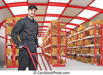 smiling worker - smiling caucasian man in classic warehouse...