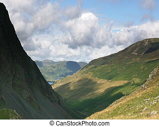 Honister Pass 1 - A view towards Buttermere along the...