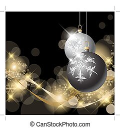 Black and Silver Christmas bulbs