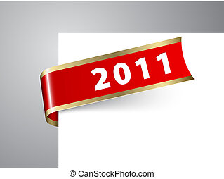 Fresh New Year corner ribbon on a red paper