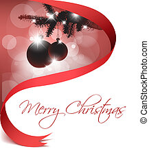 Christmas card with some decorations and red ribbon