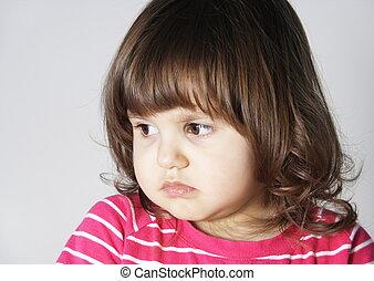 Upset Annoyed Little Girl Portrait - Little Girl with Upset...