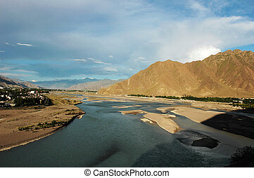 Landscape of Lhasa Tibet - Landscape of river and mountains...