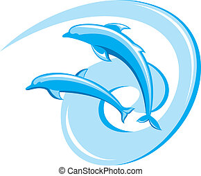Two dolphins - Two ornate dolphins on a white background