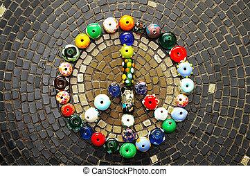 coloré, verre, perles, paix, signe, mosaïque,...