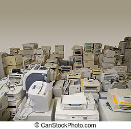 E-waste - Old printers ready for recycling