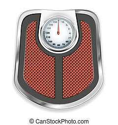Bathroom scale. Vector illustration. - Icon of chrome...