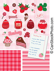 Strawberry and Jam Vector Set - Strawberry and Jam Sweet...