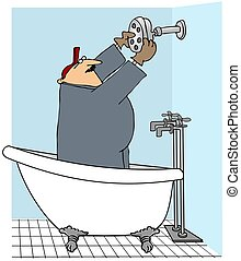 Man Installing A Shower Head - This illustration depicts a...