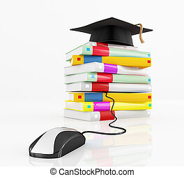 e-learning concept - graduation cap over a stack of book...