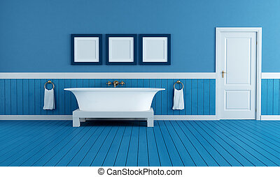 old style blue bathroom - old style bathtub in a retro...