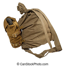 Duffel bag and gas mask in pouches - A duffel bag (or duffle...