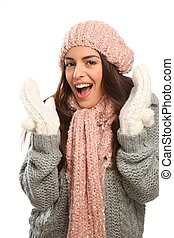 Happy laugh in winter wool fashion