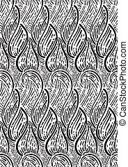 seamless monochrome pattern with abstract leaves