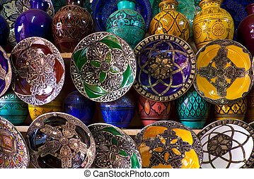 Morocco crafts - Handcrafts shot at the market in Marocco