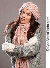 Woman in warm winter knit wear