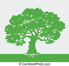Tree Vector Illustration - Tree vector illustration on green...