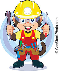 Construction Monkey - editable eps8 vector file