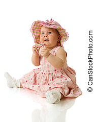 Baby Girl - Adorable Baby Girl in half year age isolated on...