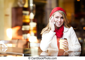 Woman talking on the phone - A shot of a beautiful caucasian...