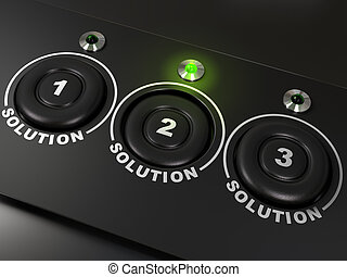 Three buttons labelled 1, 2, 3 for three solutions, the...