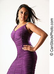 Voluptuous model in purple dress