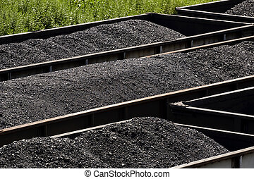 Rows of Gondola Coal Train Cars - Overlooking three rows of...
